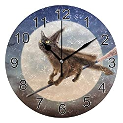 Cute Black Cat Wall Clock, 9.5In Halloween Full Moon Flying Broom Desk Clock, Silent Non Ticking Clock, Home Decor for Kitchen Bedroom Office School Art