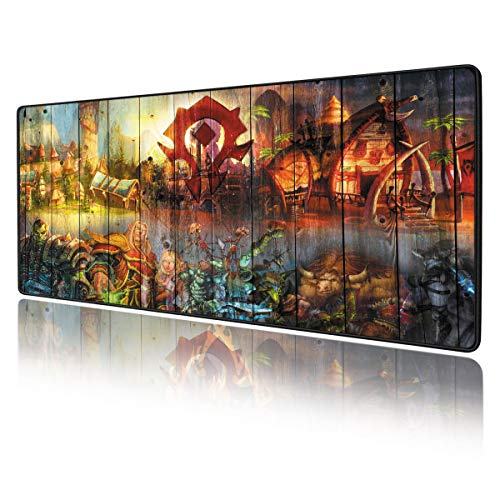 COLEFOR World of Warcraft Large Gaming Mouse Pad Non Slip Rubber Stitched Edges Large Gaming Keyboard Mat Mouse Pad 11.8 × 31.5 × 0.12 Inches (30x80cm), big-red