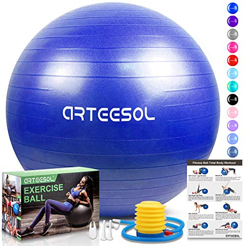 arteesol Gymnastikball, Balance Ball 45cm/55cm/65cm/75cm Yoga Ball mit Pumpe Anti-Burst Fitness Balance Ball für Core Strength (Blau, 65cm)