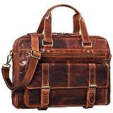 STILORD 'Alvaro' Vintage Businesstasche Echtes Leder Laptoptasche 15,6 Zoll Aktentasche Große Umhängetasche für Arbeit Büro Uni, Farbe:Kara - Cognac