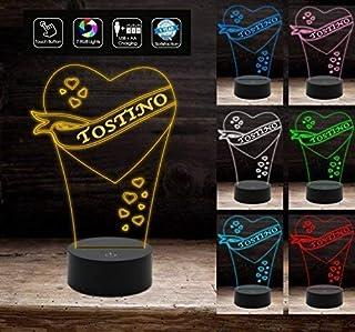 Lampada a led 7 colori cuore con nome personalizzabile Luce da notte Regalo San Valentino originale