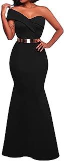 SEBOWEL Women's Sexy One Shoulder Ruffles Mermaid Gown Maxi Evening Party Dress