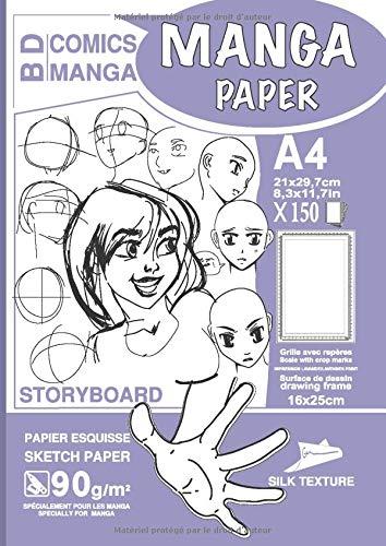 MANGA PAPER STORYBOARD: Manga Bande Dessinée Papier | Grille avec Repères | planches de BD vierges | A4 - Surface de Dessin (16x25cm) - 150 Feuilles | ... Couverture LAVANDE - Pratiquer le dessin