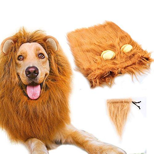 Gimilife Dog Lion Mane, Dog Costume Lion Mane Wig Halloween Costumes for Medium Large Dog with Ears...