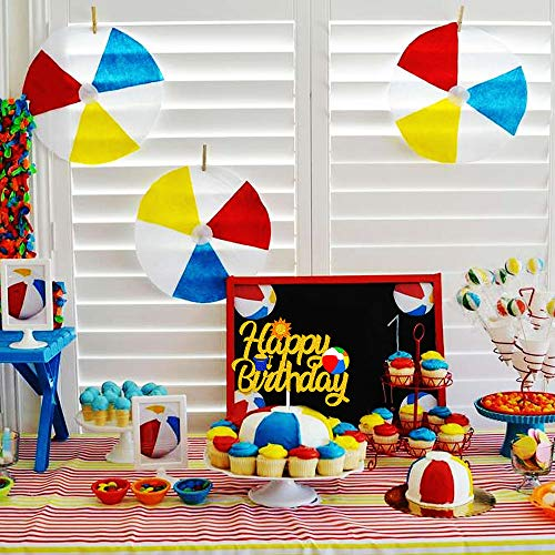 Beach Ball Happy Birthday Cake Topper - Pool Party Centerpiece Decoration - Summer Party Supplies