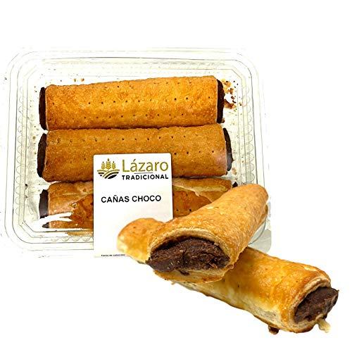 Lázaro Cañas De Chocolate Artesanas Envase 300 g (3 unidades). Rellenas de Crema de chocolate y...
