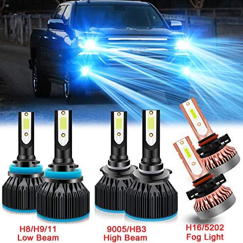 Xotic Tech 6pcs 8000K Ice Blue Extremely Bright LED Headlight Fog Parking Light Bulb for Chevrolet Silverado 1500 2500 3500 2007-2015