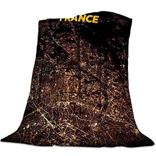 JOOCAR Manta de franela con diseño de mapa de Francia, color negro, retro, marrón, relleno de línea acogedora y suave, manta cálida para cama, sofá, sala de estar, sofá