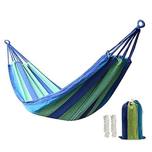 KEREITH Al Aire Libre jardín Hamaca algodón Suave Camping Hamaca con Mochila, Mejor para Patio (Azul Verde,MAX Load 200lbs)