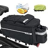 FINEW Fahrrad Gepäckträgertasche 10L Isolierte Stammkühltasche Gepacktraegertasche Multifunktionale Hinter Gepäcktasche Wasserdicht Rücksitztasche mit Regenschutz Reflektierend, Schnell Abnehmbare