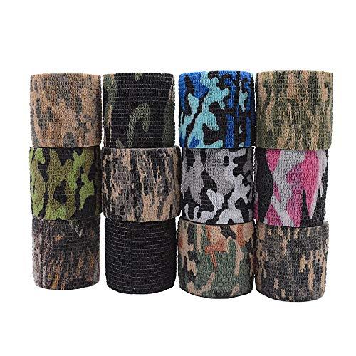 Qpower Selbstklebende Außenvlies-Tarnbänder - Woodland Camo - Rifle Wrap (12 PCS)