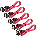 JacobsParts 5-Pack 18' SATA Cable 6GB/s Straight to Right Angle for Hard Drive/Optical Drive, Red