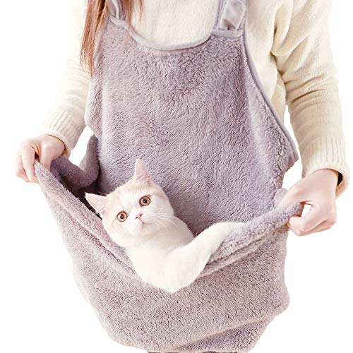 MuYaoPet Cat Sleeping Bag Holding Apron Pet Carrier Kangaroo Bag for Kitty Kitten Fleece Puppies Small Pets Holder Pouch (One Size, Grey)
