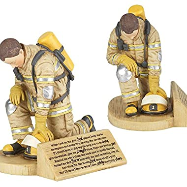 Firefighter's Prayer, Kneeling In Uniform 4.5 x 5.5 Resin Stone Tabletop Figurine
