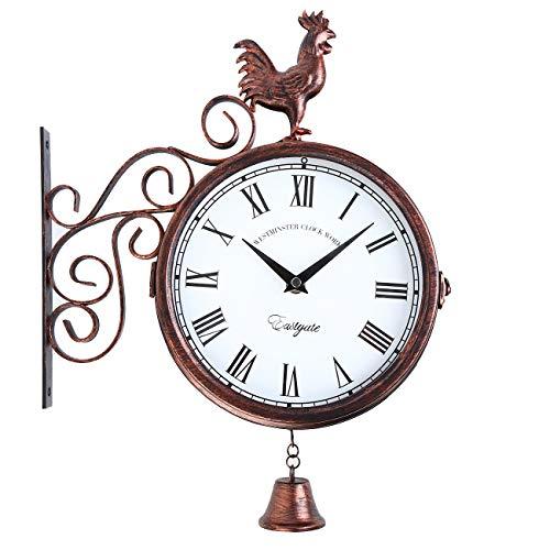 Samger Reloj de Pared de Vintage Doble Cara con Soporte Jardín Tren Estación Reloj de Pared Bronce