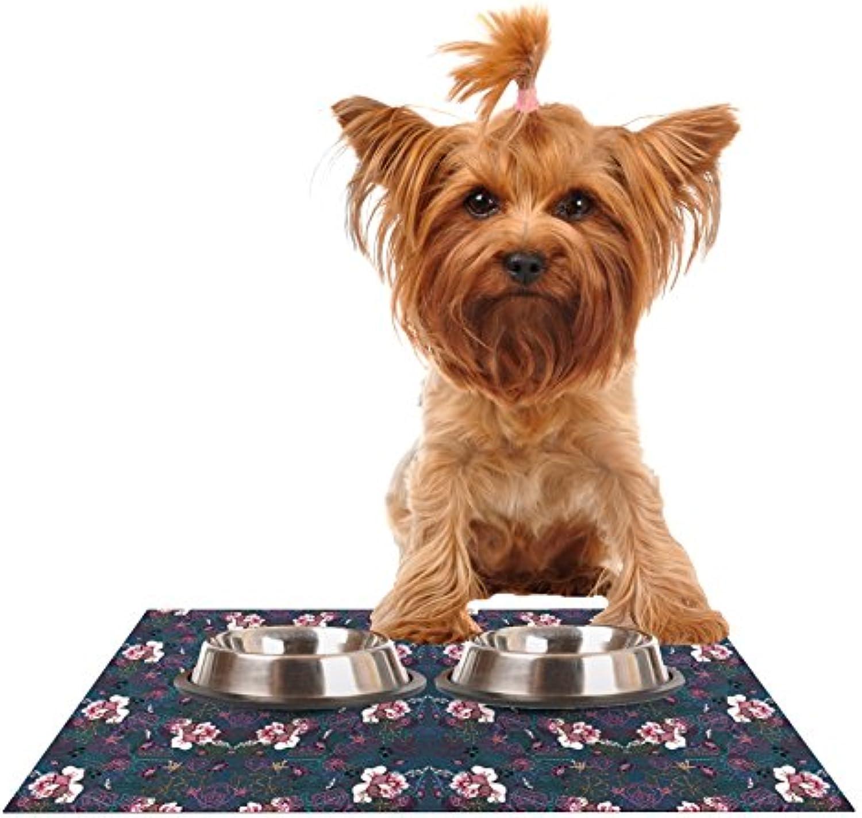 Kess InHouse DLKG Design Cool Stitch  Purple Navy Feeding Mat for Pet Bowls, 24 by 15Inch