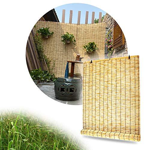 LMDX Bambus-Rollo Natur - Rollo Bambus,Lichtdurchlässig,Robuster Sichtschutz Zaun Bambus,Decken- Oder Wandmontage,Sonnenschutz Bambus,Rollos Außen