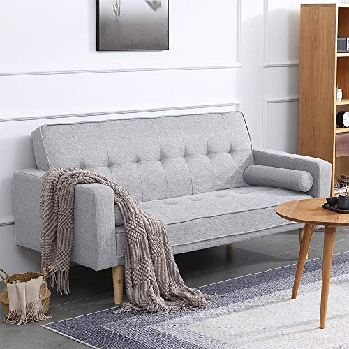 Huisen Furniture Living Room Grey Sofa Bed 2 Seater Linen Fabric Convertible Sofa Couch Futon Double Seater for Sleeper Adult Dorm Bedroom Office Reception Room