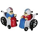 Figura de plástico a cuerda 'Abuela en silla de ruedas' set de 2 abuelitas