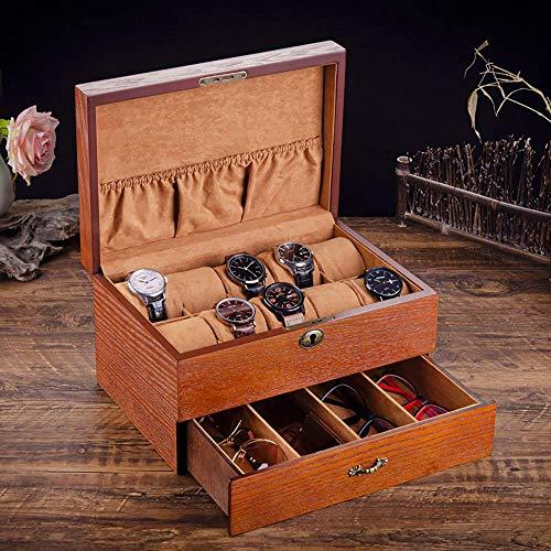 W-HUAJIA Caja de Reloj de Lujo de Madera de 10 Ranura con Cerradura de Llaves Organizador de joyería Compartimiento COLECCIÓN DE Eyeglass Caja de Reloj, B (Color : B)