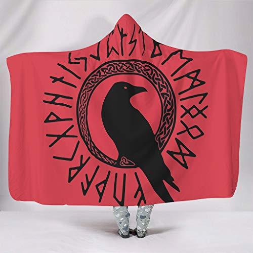Mentmate Store Manta Viking Crow Normal Confort Lujosa Tema Manta envolvente – Apta para habitaciones climatizadas para adolescentes regalo blanco 130 x 150 cm