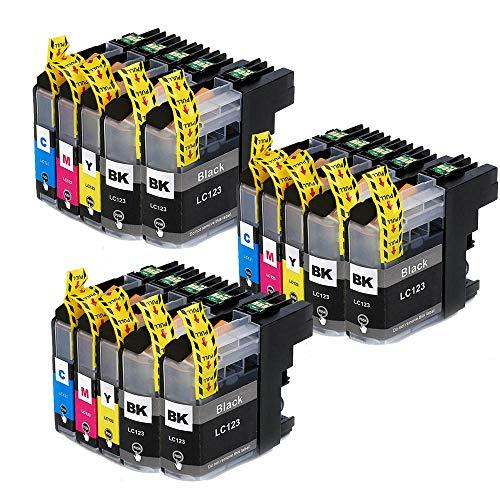 Teland - Cartuchos de tinta compatibles con Brother LC123 XL para Brother MFC-J4610DW MFC-J6520DW MFC-J4410DW MFC-J6920DW MFC-J6720DW DCP-J132W MFC-J870DW (15 unidades)