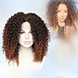 Cbwigs Heat Resistant Fiber Hair Afro Kinky Curly Two Tone Ombre Brown Synthetic Lace Front Long Fluffy Wigs for African American Women 16 inch #2/30