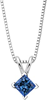 KATARINA Blue - I1 Princess Cut Diamond Solitaire Pendant Necklace in 14K White Gold