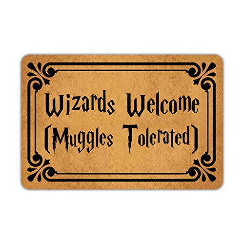 Front Door Mat Muikoo Welcome Mat Wizards Welcome Muggles Tolerated Machine Washable Rubber Non Slip Backing Bathroom Kitchen Decor Area Rug Funny Doormat Indoor Outdoor Rug 23.6