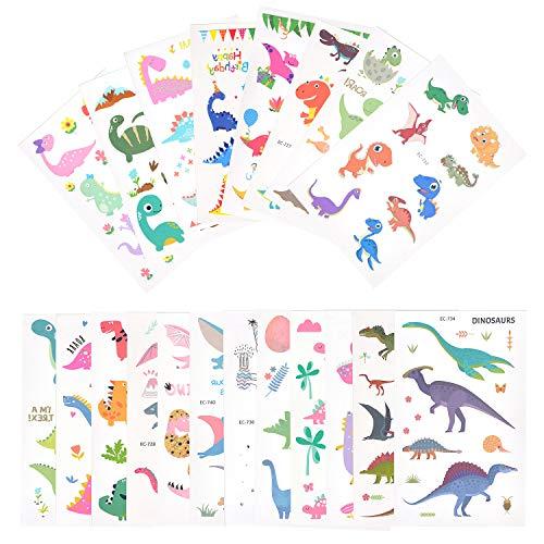 EKKONG Dinosauro Tatuaggi Temporanei per Bambini, Tatuaggi Finti Temporanei Adesivi Dinosauri, Lettere, Farfalle, Oltre 300 Motivi, Regalo per Festa di Compleanno per Le Ragazze Ragazzi (20 Fogli)