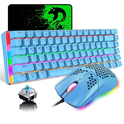 Wired Gaming Keyboard and Mouse,3 in 1 Rainbow LED Backlit Wired Mechanical Keyboard Blue Switch,RGB 6400 DPI Lightweight Gaming Mouse with Honeycomb Shell,Gaming Mouse Pad for PC Gamer(Blue)