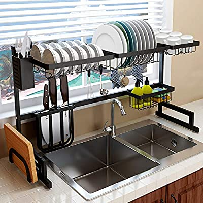 """Over the Sink Dish Drying Rack Kitchen Sink Organizer Dish Drying Rack Over the Sink Adjustable Dish Rack Stainless Steel Sink Rack Dish Drainers Rack for Kitchen Sink Space Saver (Sink Size?32"""") from"""