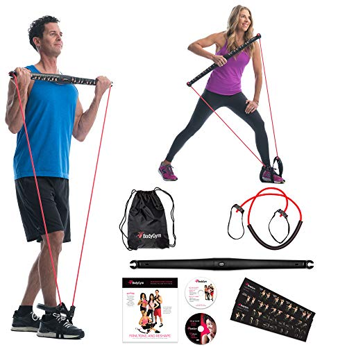 Bodygym Core System Portable Home Gym - Resistance Trainer All-in-One Band + Bar Kit, Full Body Workout: Improve Fitness, Build Muscle, Strength Exercises with Marie Osmond Workout DVD Included