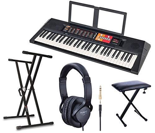 YAMAHA PSR-F51 Pack Soporte Tijera + Auriculares Roland + Banco Piano