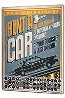 カレンダー Perpetual Calendar Nostalgic Car Retro Rent a car Tin Metal Magnetic Vintage