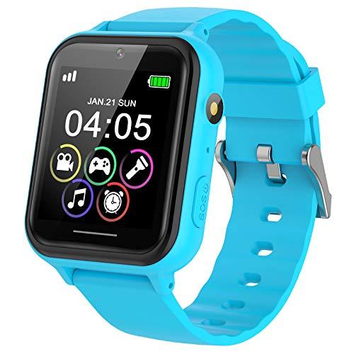 PTHTECHUS kids Smartwatch Phone per Bambini, Orologio Intelligente Bambini con 7 Giochi Musica MP3 Torcia elettrica Smartwatch Studente, Allarme Camera Bambini Smartwatch Regali, Blu