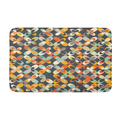 "Adowyee 16""x24"" Bath Mat Midcentury Geometric Retro Vintage Brown Orange and Teal Colors Cozy Bathroom Decor Bath Rug with Non Slip Backing"
