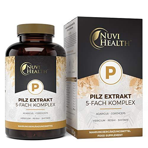 Pilz Extrakt 5-Fach Komplex - 120 Kapseln mit 750 mg Extrakt - 32% bioaktive Polysaccharide - Mit Agaricus Blazei + Cordyceps Sinensis + Hericium erinaceus + Reishi + Shiitake