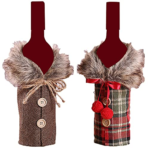 Weihnachten Flaschen Deko Weinflaschen Taschen Weinflaschen Abdeckungen Wiederverwendbare Wein-Geschenk-Beutel Xmas Festival Party Tisch Dekor Geschenk