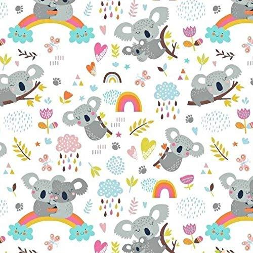 Pingianer 11,99€/m Koala 100% Baumwolle Baumwollstoff Kinder Meterware Handwerken Nähen Stoff (Hase Mond Herz Weiß) (Koala Regenbogen Weiß, 100x160cm (11,99€/m))