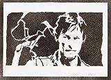 Poster Daryl Dixon The Walking Dead Grafiti Hecho a Mano - Handmade Street Art - Artwork