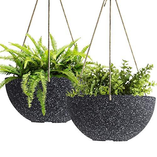 Maceta Colgante - 25 CM jardineras Exterior, Maceta con Agujeros de Drenaje, Negro Moteado, Set de 2