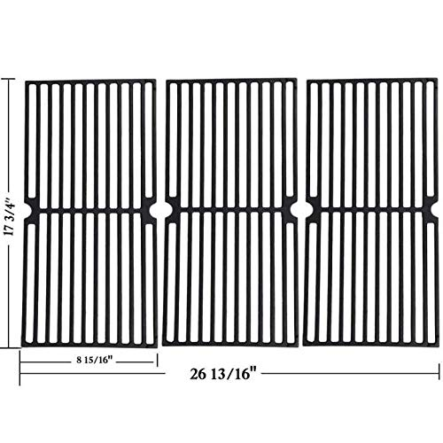 """GGC Grill Grates Replacement for Brinkmann 810-8410-F, 810-2410-S, 810-2511-S, 810-2512-S, 810-8411-5, 810-9415-W and Others, Porcelain Coated Cast Iron Cooking Grate(17 3/4"""" x 8 15/16"""" )(Set of 3)"""