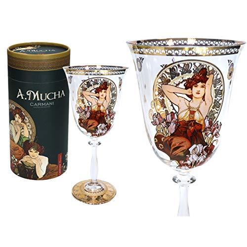 Carmani - Bonita copa de vino decorada con pintura de amatista de Alphonse Mucha, 350 ml