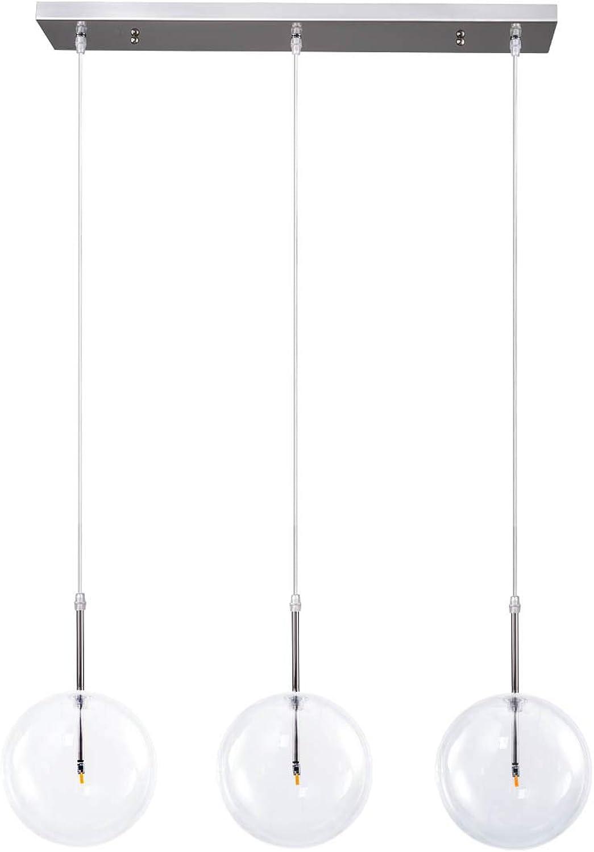 Industrial 3-Light Big Clear Glass Globe Pendant Lighting, Modern Minimalist Glass Globe Nickel Plated Ceiling Hanging Pendant Light for Living Room Kitchen Island Dinning Room Restaurant