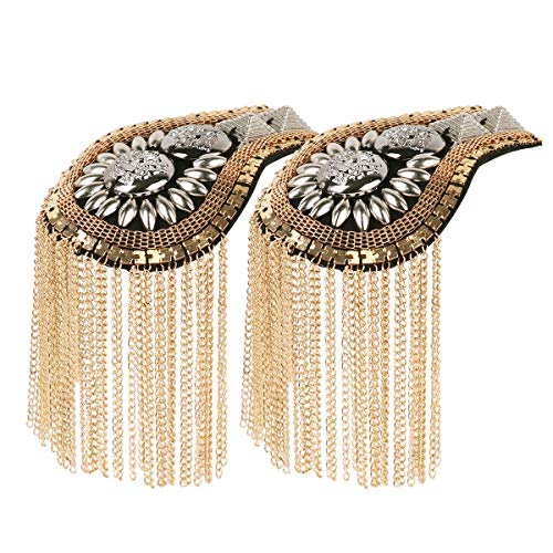 HinLot 1 Pair Fringe Epault Uniform Shoulder Badge Steampunk Costume Accessories (Gold)