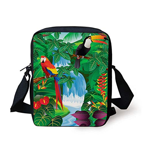 Tropical Kids Crossbody Messenger Bag Purse,Macaw and Toucan Perching on Branches Exotic Wildlife of American Rainforests,Cross Body Bags boys Girls 3D Printed Shoulder Bag,Printed Multicolor