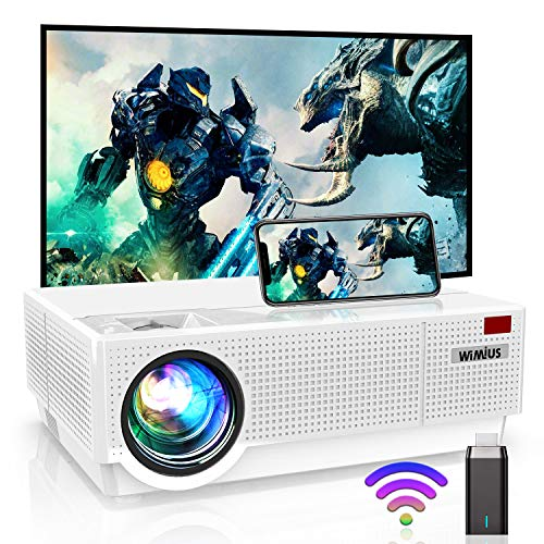 4K Projector, WiMiUS P28 WiFi LED Projector Native 1920x1080 Outdoor Projector 10000:1 Contrast Support Zoom, 400'' Screen 6D ±50°Keystone Correction for Home Theater and Outdoor Movie
