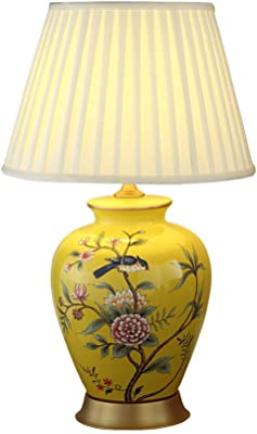 Lámpara de mesa moderna, florero de cerámica Pantalla de tambor de lino beige hecho a mano para sala de estar Dormitorio familiar