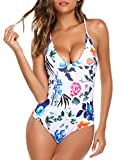 Ekouaer Swimwear Womens Monokini Swimsuits Sexy Cross Lace up Low Back Print One Piece Bathing Suits,6043-white Flower,L (fit US 10-12)